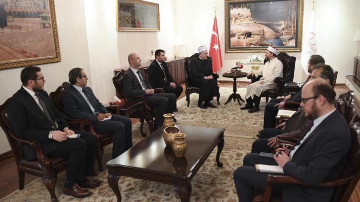 Diyanet İşleri Başkanı Erbaş, Hırvatistan İslam Birliği Başkanı Hasanoviç'i kabul etti