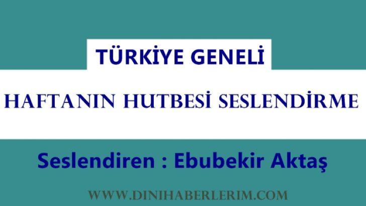 """Hutbe Seslendirme """"ÖNCE KENDİMİZDEN SORUMLUYUZ"""""""