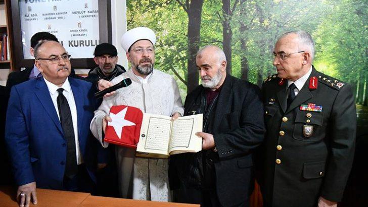 Diyanet İşleri Başkanı Erbaş'tan Afrin şehidi Fatih Mehmethan'ın ailesine taziye ziyareti
