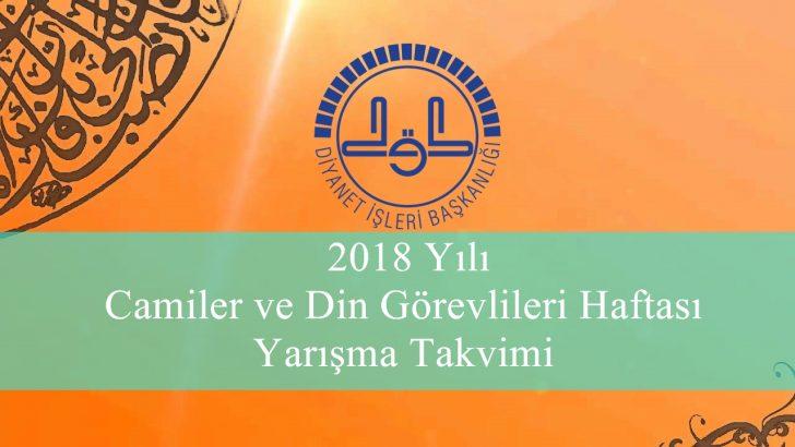 2018 Yılı Camiler Ve Din Görevlileri Haftası Yarışma Takvimi Belli Oldu