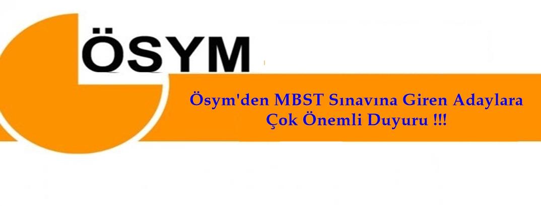 Ösym'den 2018 DİB-MBSTS ile ilgili çok önemli Duyuru !