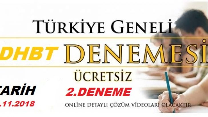 Türkiye Geneli Dhbt Deneme Sınavı-2 Yarın Başlıyor !