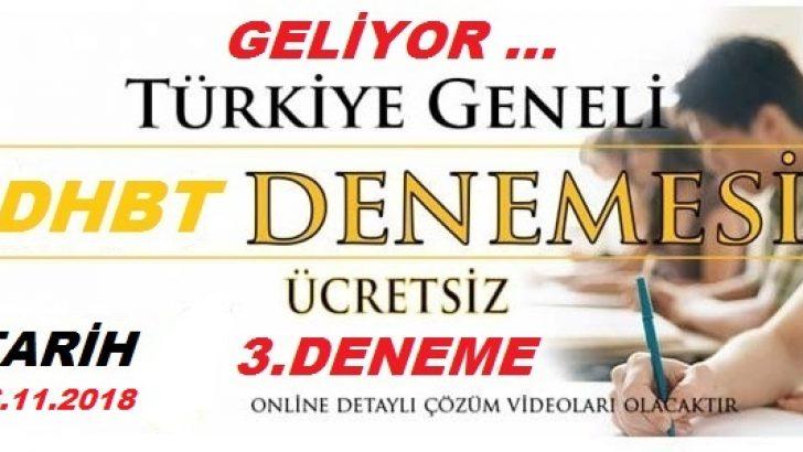 Flaş ! Türkiye Geneli Dhbt Deneme Sınavı-3 Geliyor